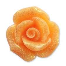 20mm APRICOT Glitter Rose Resin Flatback Cabochon